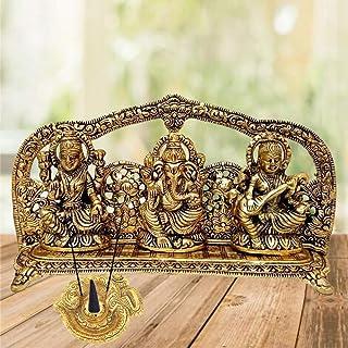 RCI Handicrafts Metal Laxmi Ganesh Saraswati Idol, 14 cm x 26 cm x 5 cm, Gold