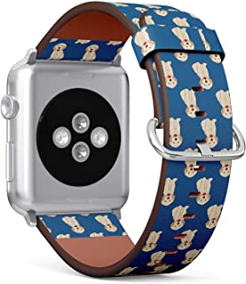 Compatible with Apple Watch (Small Version) 38 / 40mm Leather Wristband Bracelet with Stainless Steel Clasp and Adapters - Labrador Golden Retriever Dog