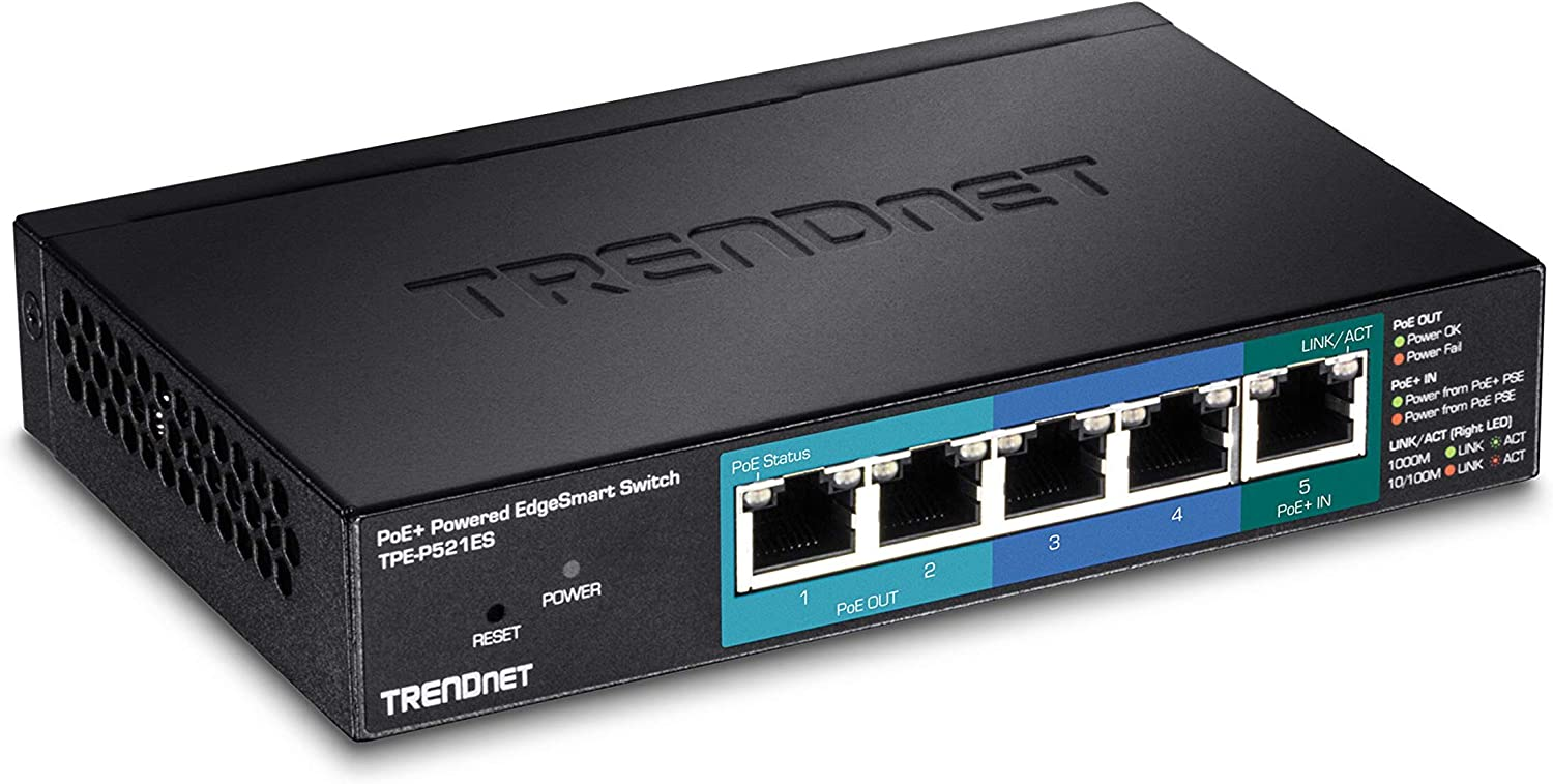 TRENDnet 5-Port Gigabit PoE+ Powered EdgeSmart Switch with PoE Pass Through, 18W PoE Budget, 10Gbps Switching Capacity, Managed Switch, Wall-Mountable, Lifetime Protection, Black, TPE-P521ES
