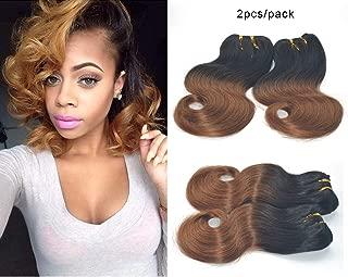 GREEMEO Cheap 2 Bundles Brazilian Body Wave 8 Inches Short Bob Weave Ombre Two Tone 8A Human Hair Extensions 50g/pc 100g/set (1B/30)