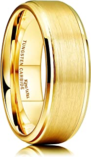Glory Womens Mens 8mm Matte Brushed Tungsten Carbide Ring 14K Yellow Gold Wedding Band Comfort Fit