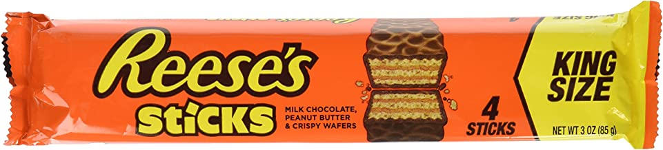 REESE'S Peanut Butter Candy Sticks, Halloween Candy, King Size (Pack of 24)