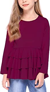 Arshiner Girls Casual Tunic Tops Long Sleeve Layered Ruffle Hem Blouse T-Shirts for 6-15 Years