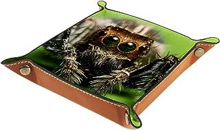 FCZ Plateau de rangement Macro Spider Crossing en cuir avec feuilles vertes pour table de chevet, bureau, boîte de rangeme...