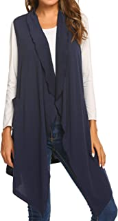 Women's Solid Color Sleeveless Asymetric Hem Open Front Drape Long Cardigan Vest