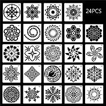 WYBFZTT-188 24 pochoirs PCS DIY Modèle de dessin d'artisanat pour la peinture de roche Scrapbooking Carte de papier Emboss...