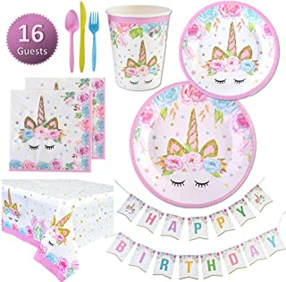 Unicorn Party Supplies Set   Unicorn Decorations and Tableware   Disposable and No Washing Up   Serves 16 – 114 Pieces by Party People
