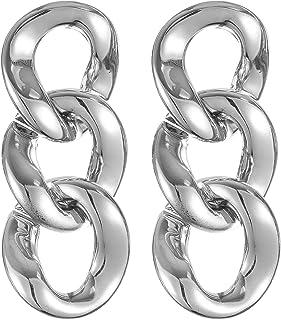 Dama Chain-Link Dangle Earrings for Women - Silver
