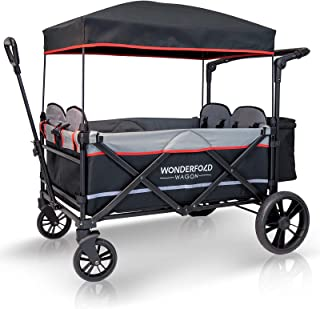 WonderFold Baby XXL 4-Passenger Pull/Push Quad Stroller Wagon with Adjustable Handle Bar, Removable Canopy, Safety Seats with 5-Point Harness, One-Step Foot Brake (Black)