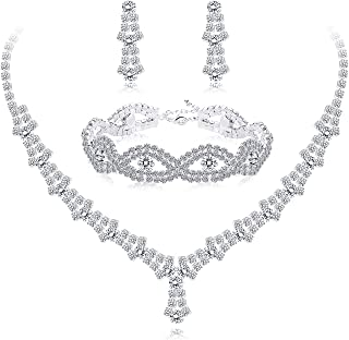 Rhinestone Necklace and Earrings Set for Women Bridal Jewelry Set for Wedding with Crystal Bracelet