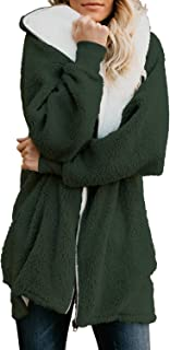 Womens Solid Oversized Zip Down Hooded Fluffy Coat Cardigans Outwear with Pockets