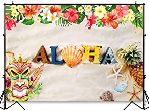 Funnytree 7X5FT Aloha Luau Party Backdrop Summer Hawaii Tiki Mask Tropical Pineapple Hibiscus Flower Seaside Sand Beach Shell Photography Background for Birthday Baby Shower Photo Booth Studio
