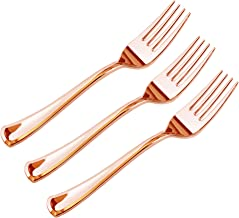 JL Prime 280 Piece Rose gold Plastic Forks Bulk Set, Rose gold Plastic Cutlery Set, Heavy Duty Utensils for Party & Weddin...