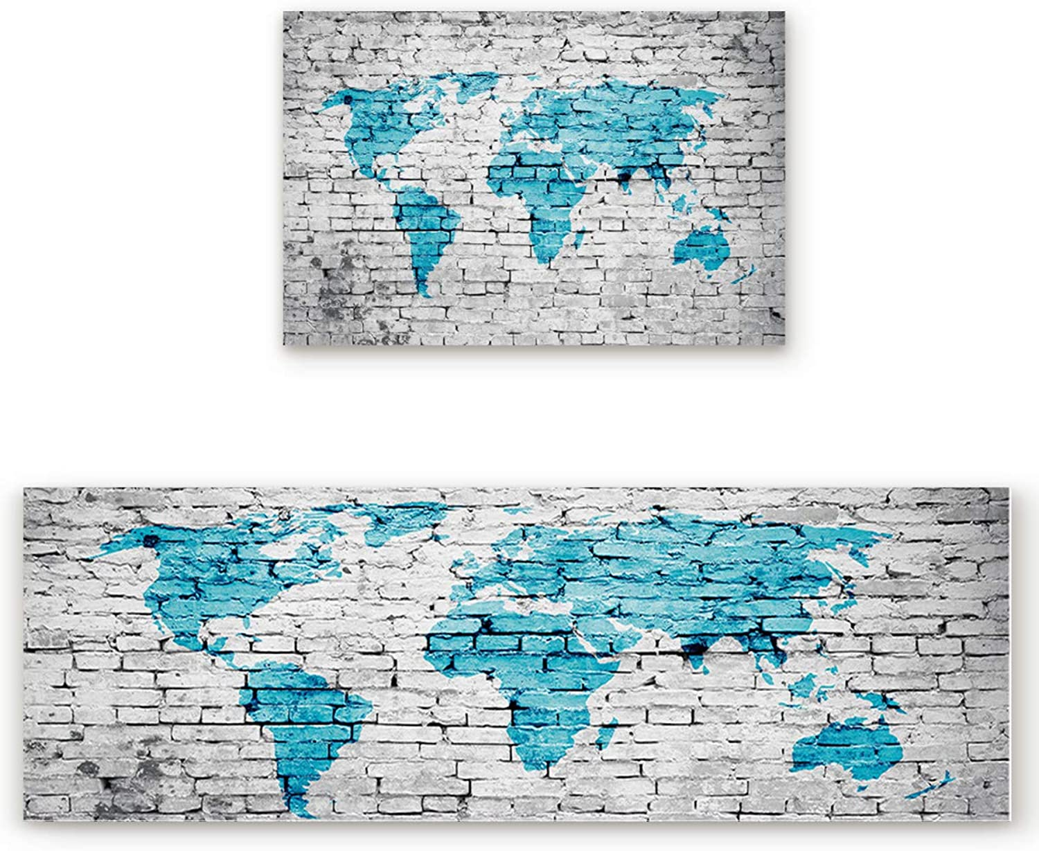 Savannan 2 Piece Non-Slip Kitchen Bathroom Entrance Mat Absorbent Durable Floor Doormat Runner Rug Set - World Map on Brick Wall