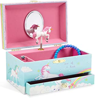 JewelKeeper Girl's Musical Jewelry Storage Box with Pullout Drawer Rainbow Unicorn Design Somewhere Over the Rainbow Tune