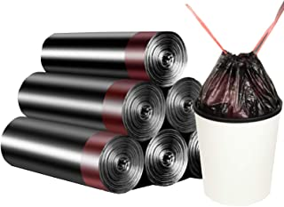 Drawstring Garbage Bags, Thick Durable Leak-proof Trash Bags, 4-6 Gallon Strong Rubbish Bags Wastebasket Liners for Home, ...