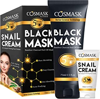Blackhead Remover Mask,Bamboo Charcoal Peel Off Black Mask,Purifying and Deep Cleansing for All Skin Types with Snail Cream (2.5 fl.oz/ 75ml)