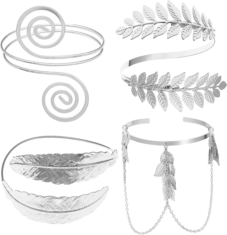 Max 70% OFF RechicGu 4 Pieces Leaf Swirl Armlet Arm Cuff Bangle Met Chicago Mall Bracelet