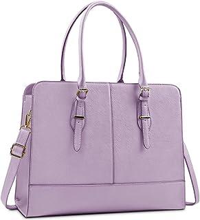 Lubardy Handtasche Damen Shopper Damen Groß Wasserdicht 15.6 Zoll Leder Laptop Tasche für Büro Arbeit Business Schule Violett