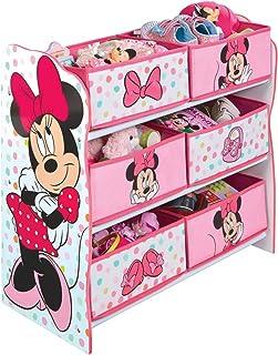 PEGANE Meuble de Rangement Enfant avec 6 bacs, Rose Motif Minnie Mouse - Dim : H 60 x L 63,5 x P 30 cm