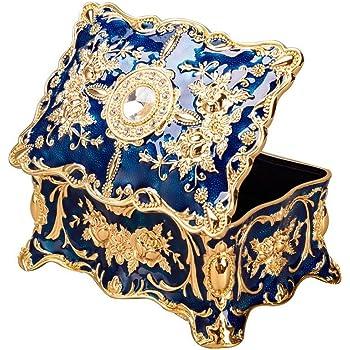 Feyarl ジュエリーボックス 宝石箱 ジュエリー収納 ジュエリーケース 腕時計ボックス レッド 長方形 ブルー M