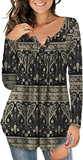 Women's Plus Size Tunic Tops Long Sleeve Casual Floral Henley Shirt
