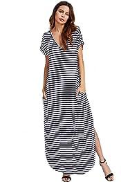 796cdac13b Verdusa Women's V Neck Side Pockets Split Hem Beach Long Maxi Dress