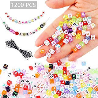 Quefe 1440pcs Letter Beads 6 x 6mm White Cube Letter Beads Acrylic Colorful Alphabet Beads for Jewelry Making Bracelets Necklaces Key Chains