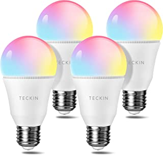 TECKIN Smart Light Bulb LED RGB Color Changing,A19 E27 60W 800LM Equivalent Compatible with Alexa Google Home,IFTTT,2800K-6000K Cold and Warm Light WiFi Blubs(7.5W),4pack