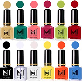 MI Fashion Non-Toxic Premium Lacquer Longest Lasting Extra Shine Nail Polish Shades of 12 Pcs in Wholesale Rate - Nude,Sea Green,Doll Pink,Passion Pink,Lime Green,Red,Black,Top Coat,White,Yellow,Coral & Sea Blue