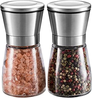 Salt and Pepper Grinder Set – Miuly Premium Stainless Steel Salt and Pepper Mill with Glass Body and Adjustable Coarsenes...