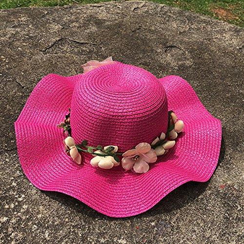 Verano para Mujer Sombrero de sombrilla Flor Sombrero de Paja al Aire Libre Grandes Aleros Protector Solar Sol Playa Sombrero Plegable