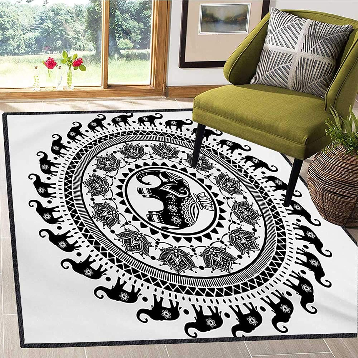 Elephant Mandala, Door Mats for Inside, Seven Royal Symbols and a Guardian of Temples Spirit Animal Circle, Door Mats for Inside Non Slip Backing 4x6 Ft Black and White