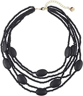 Coiris Multi Color 5 Layers Wood Beads Strand Statement Necklace for Women Chunky Collar (N0019)