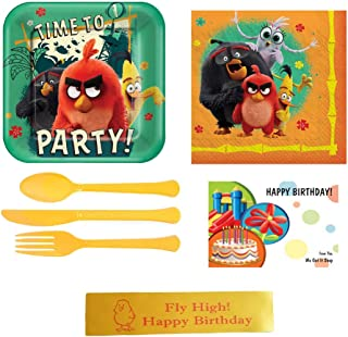 Angry Birds 2 Party Supplies Bundles Including Plates, Napkins, Utensils, Party Checklist and Printed Ribbon