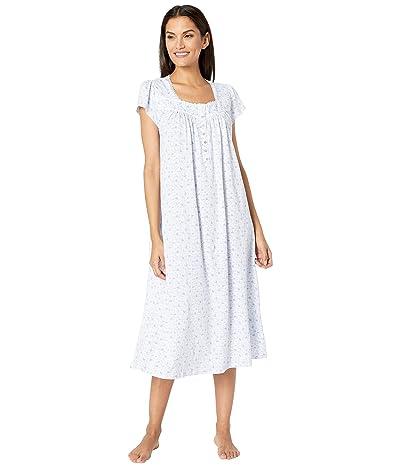 Eileen West Cotton Jersey Knit Short Sleeve Ballet Nightgown (White Ground/Mono Leaf) Women