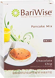 BariWise High Protein Pancake Mix/Low-Carb Diet Pancakes - Chocolate Chip (7 Servings/Box) - Low Carb, Low Fat, Low Calorie, Aspartame Free