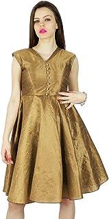 Phagun Women's Beach Dress Solid Short Length Sleeveless Casual Summer Sundress