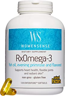 WomenSense by Natural Factors, RxOmega-3 Fish Oil, Supports a Healthy Heart and Joints with Primrose Oil, Omega-3 DHA and EPA, Gluten Free, 120 softgels (60 servings)