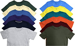 SOCKS'NBULK Mens Cotton Crew Neck Short Sleeve T-Shirts Mix Colors Bulk