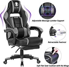 KILLABEE Massage Gaming Chair High Back PU Leather PC Racing Computer Desk Office Swivel Recliner with Retractable Footres...