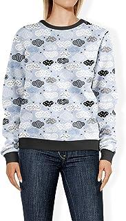 Rainbow Rules Sweet Dreams Geometric Clouds Blue - 2XL - Womens Sweatshirt