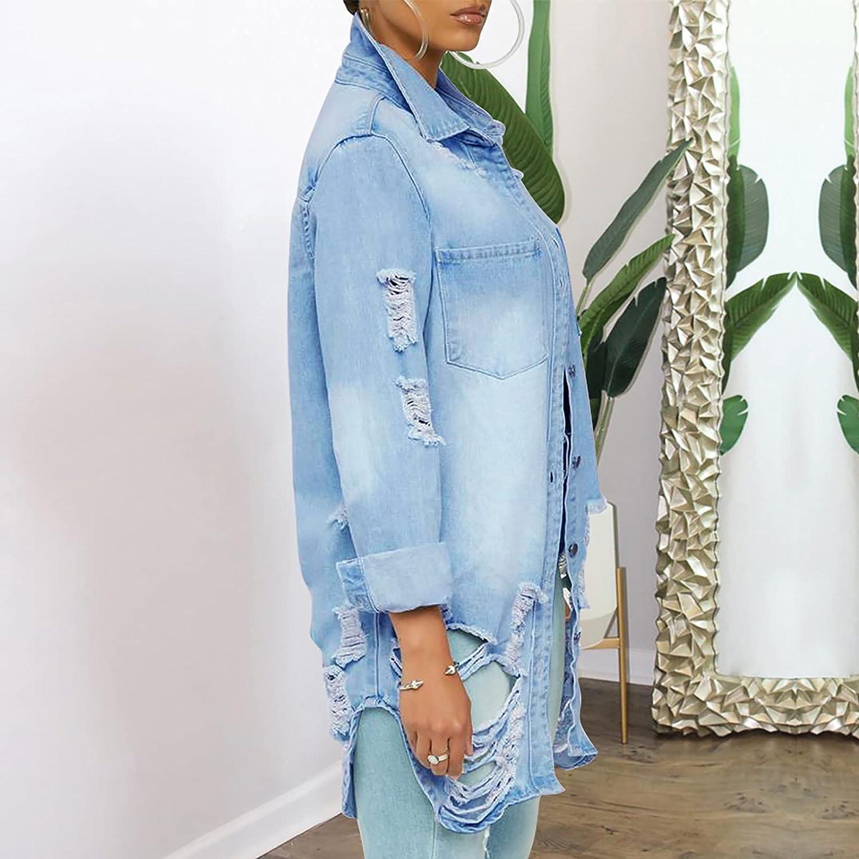 Women Denim Jacket Loose Long Sleeve Autumn Coat Blouse Casual Fashion Bule Fashion Outwear