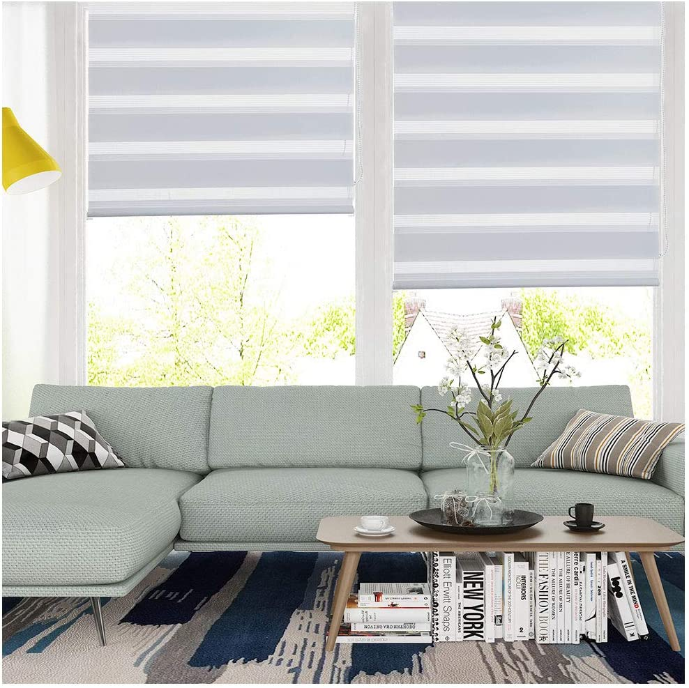 SMONTER Easy Fix Zebra Roller Blind,Day and Night Blinds Curtains with Install Accessories (110CMx150CM, WHITE) White 110CMx150CM