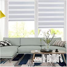 LUCKUP Horizontal Window Shade Blind Zebra Dual Roller Blinds Day and Night Blinds Curtains,Easy to Install 21.7