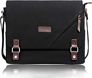 ibagbar Upgraded Canvas Messenger Bags 14 Inch Shoulder Crossbody Bag Laptop Computer Bags with Padded Sleeves Vintage Satchel College School Bag Bookbag Working Bag for Men and Women (Black 001)