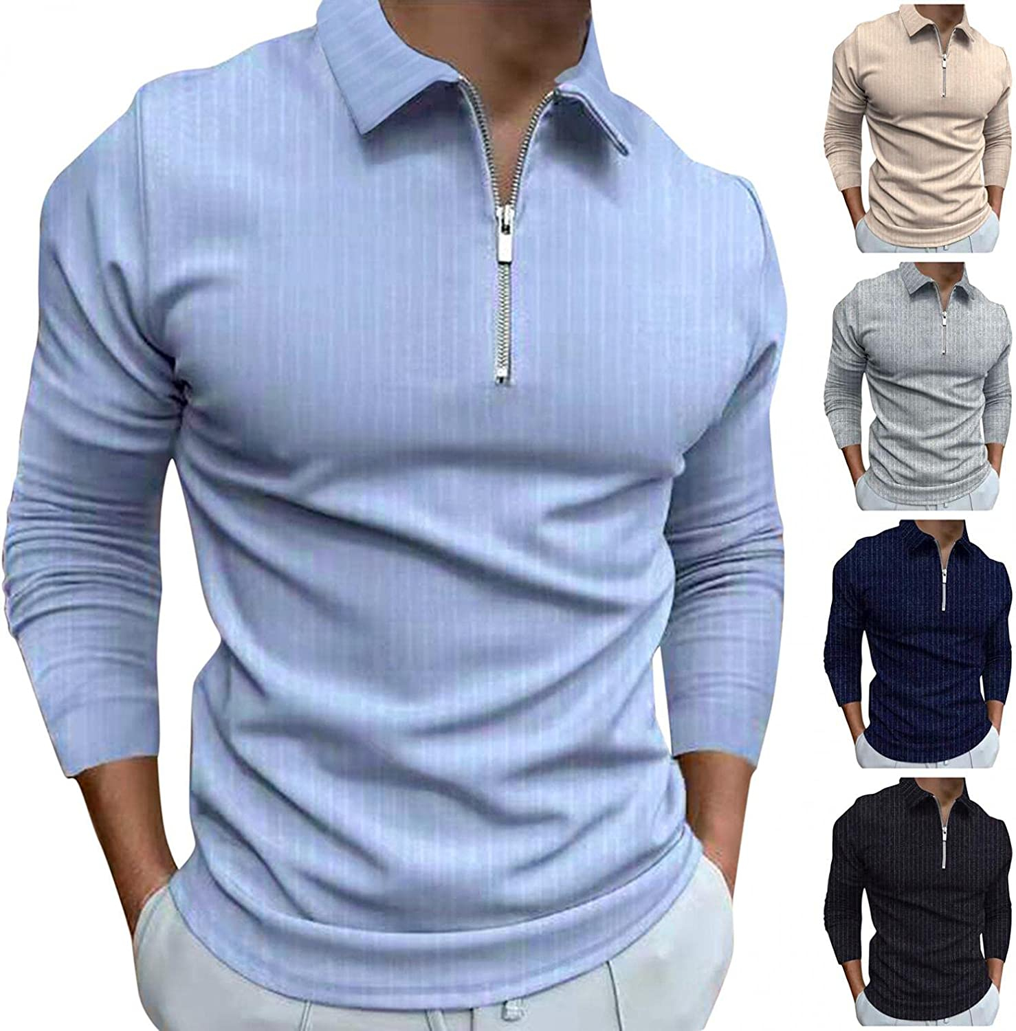 JSPOYOU Men's Long Sales for sale Sleeve Polo Shirt Slim Zipper Fit Ath Now on sale Classic