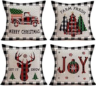 Hopyeer Merry Christmas Throw Pillow Covers Buffalo Plaid Black White Grey Check Plaid Cushion Cover Happy Christmas Red T...