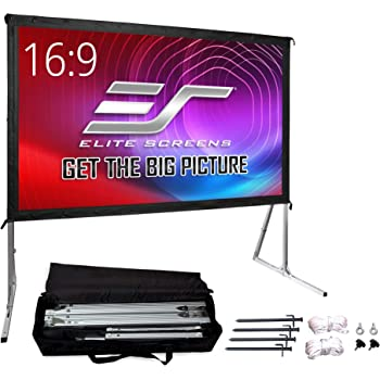 """Elite Screens Yard Master 2, 120-inch Outdoor Indoor Projector Screen with Stand 16:9, Fast Easy Snap On Set-up Freestanding Portable PVC Movie Theater Cinema Foldable Front Projection 120"""" 