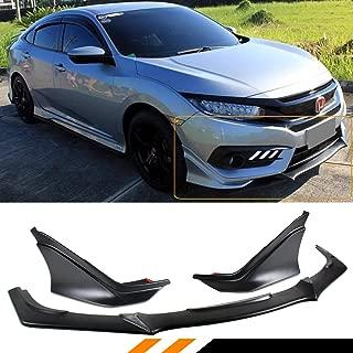 Fits for 2016-2018 Honda Civic Sedan Coupe JDM Style Front Bumper Splitter Lip + JDM M Style Side Valance Underbody Spoiler